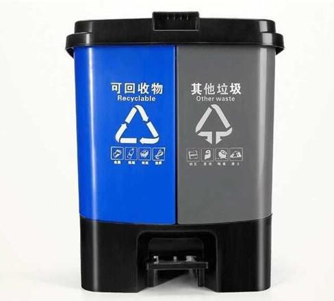 20L脚踏塑料分类垃圾桶XA-1